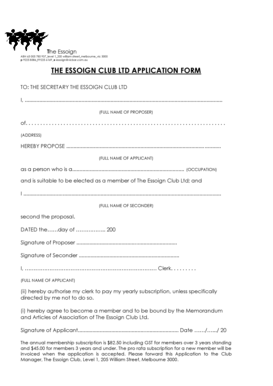 Fillable Online THE ESSOIGN CLUB LTD APPLICATION FORM Fax