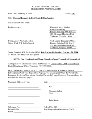 Fillable Online RFP1901 PERSONAL PROPERTY AND REAL ESTATE