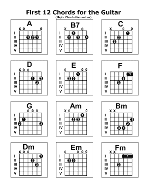 24 Printable Beginners Guitar Chords Chart Forms and