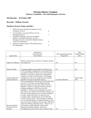 10 Printable meeting minutes template excel Forms