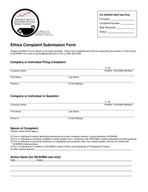 Fillable Online Ethics Complaint Submission Form Fax Email