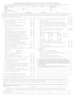 Printable preparticipation physical evaluation medical
