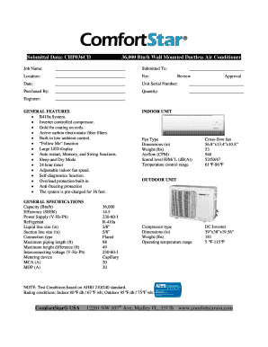 Fillable Online Submittal Data: CHP036CD 36,000 Btu/h Wall