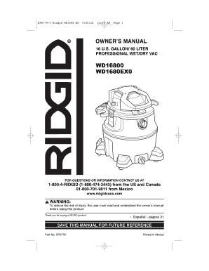 Fillable Online SP6779-3 Ridgid WD1680 FR
