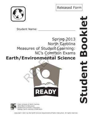 Spring 2013 North Carolina Earthenvironmental Science
