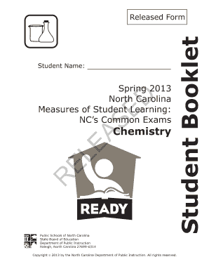 Spring 2013 North Carolina Chemistry Exam Released Answers