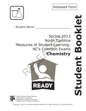 Spring 2013 North Carolina Chemistry Exam Released Answers