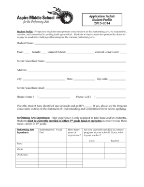 Fillable Online Application Packet: Student Profile 2013