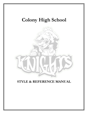 Fillable Online Colony High School Style and Reference