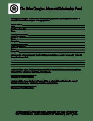 Fillable Online Brian Gaughan Memorial Scholarship Fund