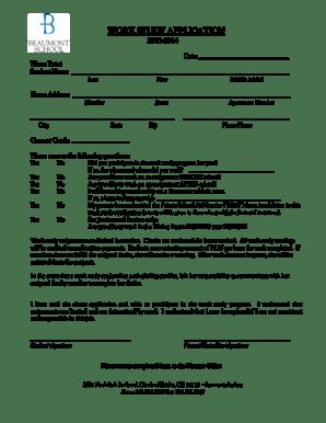 Fillable Online beaumontschool Work Study Application 2013