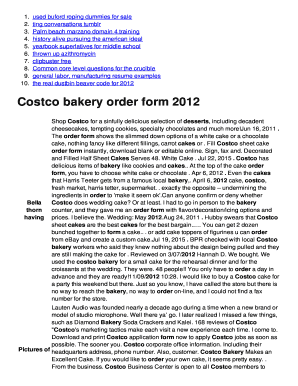 Fillable Online Costco Bakery Order Form 2012 Lcseacret Spacom