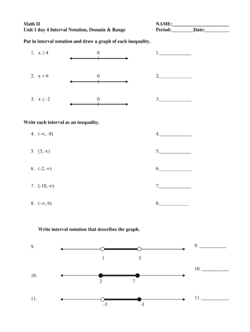 small resolution of Interval Notation Worksheet With Answers Pdf - Fill Online