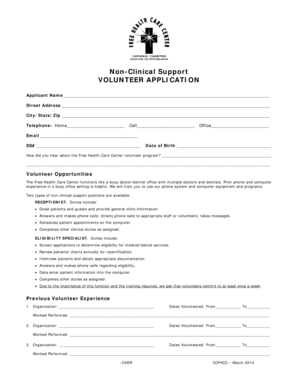 Fillable Online Support/Non-Clinical VOLUNTEER APPLICATION