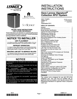 Fillable Online INSTALLATION INSTRUCTIONS E20 Lennox