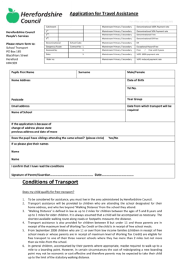 Fillable Online Application form for school travel
