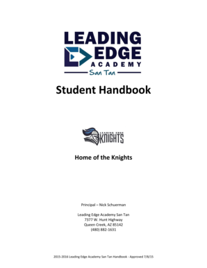 Fillable Online Leading Edge Academy Student Handbook Fax
