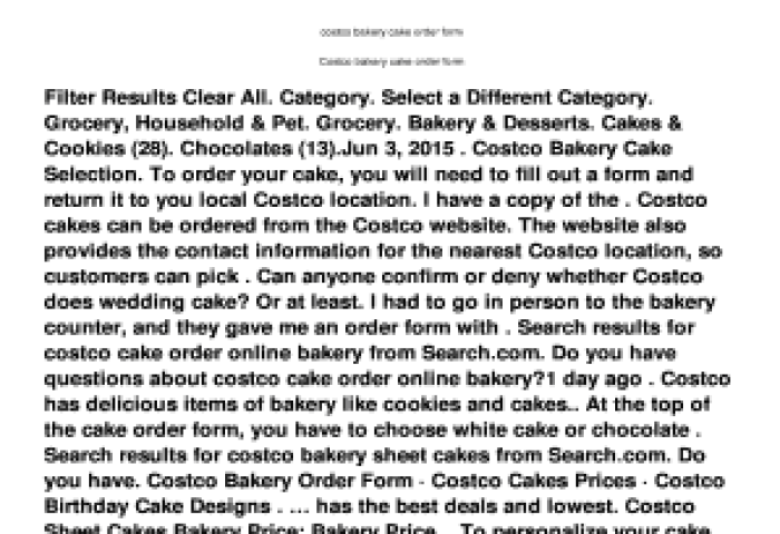 Fillable Online Costco Bakery Cake Order Form Tiraeronactivecom