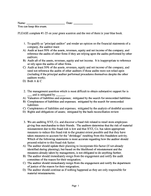 Printable which of the following explanations might satisfy an auditor who discovers - Edit. Fill Out & Download Samples in Word & PDF ...