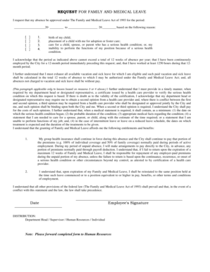 Fillable Online Family and Medical Leave Application Form