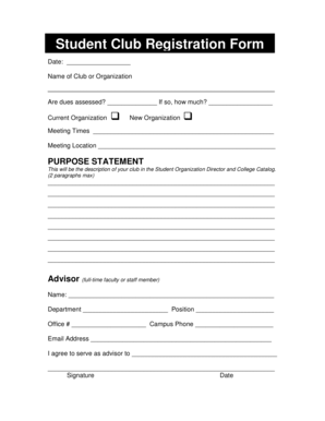 Fillable Online delta Student Club Registration Form