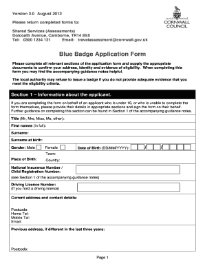 Fillable Online Blue Badge Application Form Cornwall