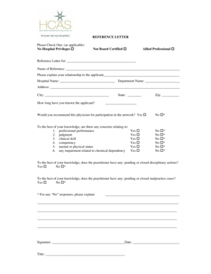 professional reference letter Forms and Templates