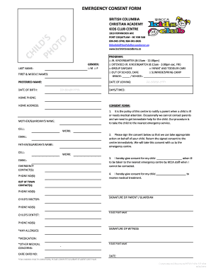 20 Printable emergency contact form for daycare Templates
