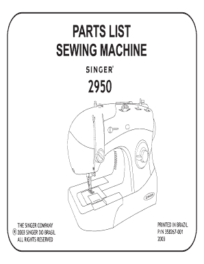 Sewing Machine Parts List