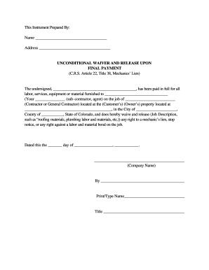 Release Lien Form Free | Contract Letter For General Worker