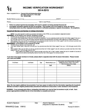 Fillable Online Shsu Income Verification Worksheet