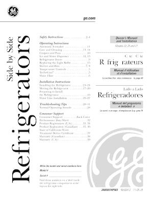 Fillable Online 49-60412. GE Refrigerator Owner's Manual