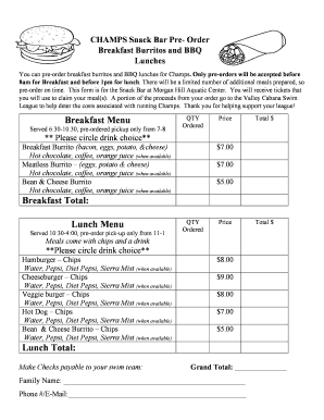 Editable Snack Bar Menu Template Free Form Online In Pdf