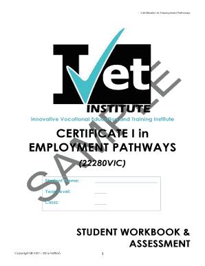 Fillable Online CERTIFICATE I in EMPLOYMENT PATHWAYS