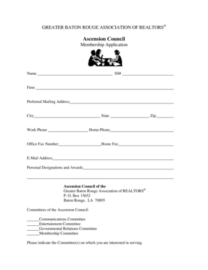 Fillable Online Ascension Council Membership Application