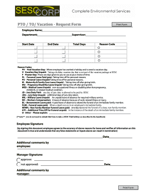 Pto Request Form Fill Online Printable Fillable Blank Pdffiller