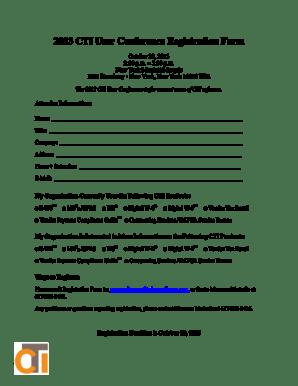 Fillable Online 2013 CTI User Conference Registration Form