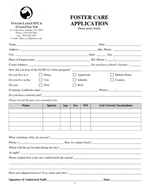 Fillable Online FOSTER CARE APPLICATION Fax Email Print