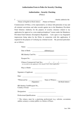 Fillable Online Authorization form to Police for Security