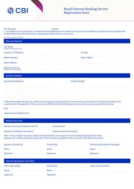 Fillable Online Retail Internet Banking Registration Form Commercial Bank Fax Email Print Pdffiller