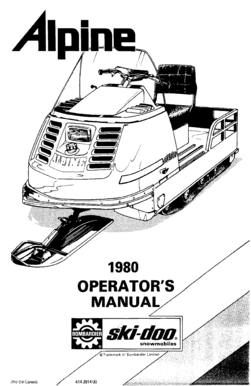 Fillable Online 1980 OPERATOR'S MANUAL :1 : '1 ' ski-dna