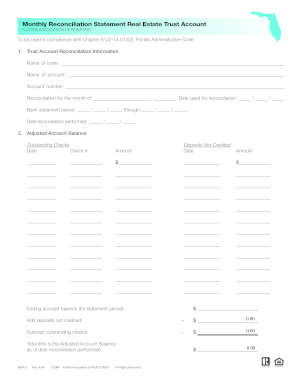21 Printable Monthly Bank Reconciliation Forms and