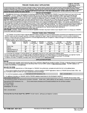 Fillable Online tricare DD Form 2947 TRICARE Young Adult