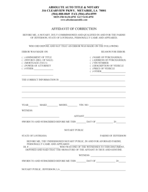 18 Printable affidavit of correction louisiana Forms and