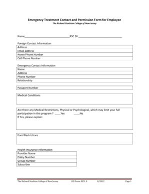 136 Printable Employee Emergency Contact Form Templates
