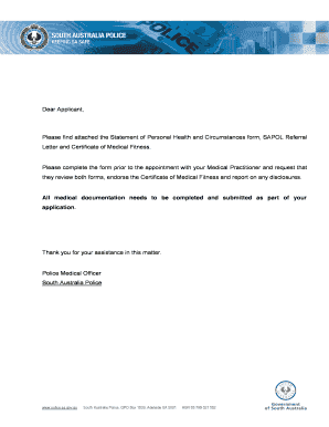Fillable Online Please find attached the Statement of Personal Health and Circumstances form. SAPOL Referral Fax Email Print - PDFfiller