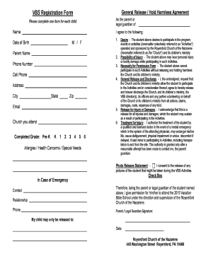 Fillable vbs registration form photo release Templates to