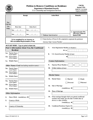 2013 Form USCIS I-751 Fill Online, Printable, Fillable