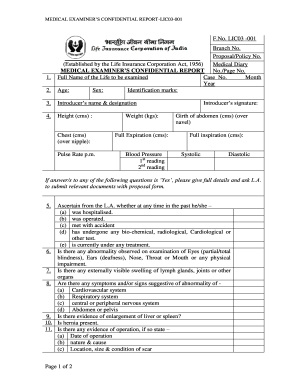 Lic Medical Confidential Form Pdf - Fill Online, Printable, Fillable ...