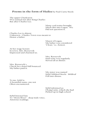 Fillable Online Poems in the form of Haiku by Paul Curry